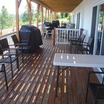 Patio with chairs, table, BBQ grill