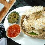 Crispy rice cakes with tomato and eggplant dip