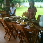 A meal Sunee recently prepared for some Thai guests