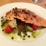 Idaho Trout with glazed vegetables and fried capers