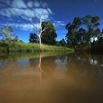Moonlit dam by night