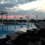 Evening round the pool and bar area