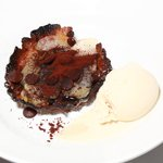 Pear and chocolate crystalized sugar almond tart with soy milk ice-cream
