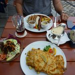 sausage selection and the Pork Schnitzel with mushroom sauce