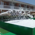 The preparation for the foam party!