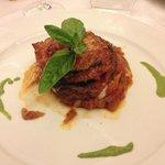 Aubergine with tomato and mozzarella