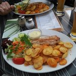 Grilled turkey steaks with potatoes and side salad - excellent!