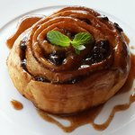 Vanilla Infused Cinnamon Roll with Honey Glaze
