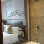 Window view from bathroom to bedroom