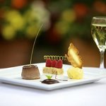 Desserts and a glass of wine