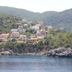View of hotel from ferry arriving in Poros, Kefalonia