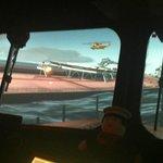Inside the lifeboat simulator.
