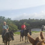With the horses on the beachwalk