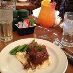 bison short rib with mashed potatoes and snow peas (half order shown, split with husband)