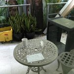 porch area with cleaning bucket