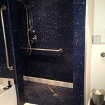 shower- no door and very slippery marble