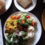 Choice of 3 salads and bread E9.95.