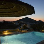 Private freshwater pool with great sunset views over mountain