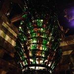 This light fixture is massive - then you realize that it's made of wine bottles!