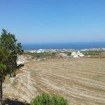 Vista do quarto para o lado leste de Santorini