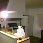 The kitchen, one of the three shared areas inside the mobile home units.