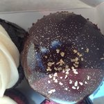 Boston cream filled with creamy custard and covered with a perfect ganauche