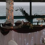 Sweetheart table in the covered, open air ballroom