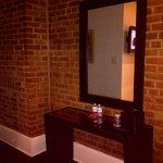 Brick walls, console, water/treats