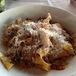 Pappardelle with duck ragu and swiss chard.