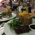 Wonderful main meal of rump steak, battered chips and walnut salad