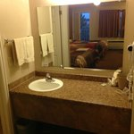 Granite top bathroom counter.