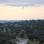 Hot air balloon over the river