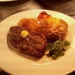 rump steak with jacket potato