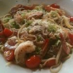 Shrimp over linguini with oyster mushrooms