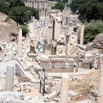 Looking down the path to the city Library through the ruins of Ephesus