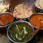 butter chicken, lamb vindaloo and palak paneer.