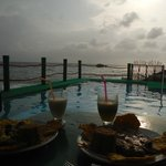 Food, pool, sea and sunset :)