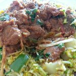 Goshat Karahi on Vegetable Rice
