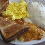 The Wrangler--eggs your way, chicken fried steak, hashbrowns and toast