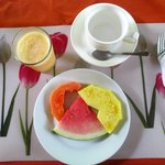 The fresh fruit plate and fresh squeezed juice I was served each morning