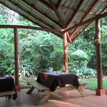 A view of the outdoor area where breakfast is served