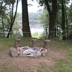 campfire ring with a view of the Potomack River