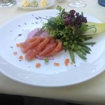 At the restaurant of the hotel. Salmon
