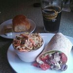 Delicious Greek wrap with a chocolate stout