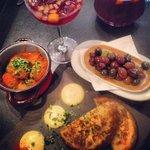 Albondigas, tortilla, olives, sangria