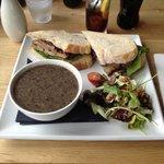 Mushroom soup and Ony's pork sandwich