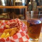 Beer battered shrimp and a Island pale ale