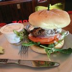Burger with grilled filet walleye on top.. solid good!!!!!