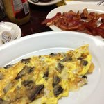Portobello omlette with a side of bacon