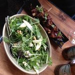 Lamb Ribs and Rocket,Pear, Blue Cheese and Walnut Salad